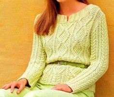 Lavori a maglia: le spiegazioni per creare un maglione verde tiglio - spiegazioni in italiano e grafico del punto