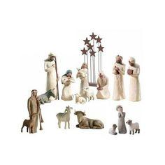 Crèche de Noël Willow Tree complète avec décor.