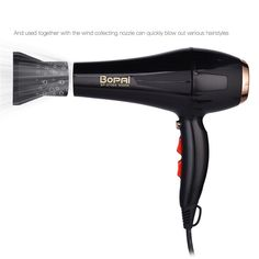 Professional Hair Dryer With Nozzle, Super Power Hair , Salon Styling Tools Hair Drier , Hot Cold Air Speed , Adjust Hair Blower. Professional Hair Dryer, Professional Hairstyles, Hair Blower, Moisturize Hair, Styling Tools, Blow Dry, Dry Hair, Plastic Models, Synthetic Hair