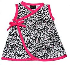 Hot Pink & Damask BABY/TODDLER Kimono Dress