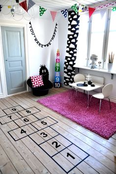 Indoor Hop scotch made from duct tape - love this idea and it keeps kids moving!