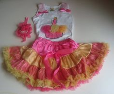 Girls birthday Outfit  Hot Pink and by SuperCrochetMom on Etsy
