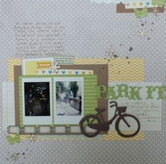 I often see little bits on the top edge of a layout. But I LOVE how she trickled bits and pieces diagonally across the page! By Shimelle Laine - Park it
