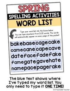 Engaging spelling activities that match YOUR word list. Enter your vocabulary list once and spelling word lists auto-fill on all 12 printable spelling worksheets. Included in the All Year TPT Bundle, seasonal spelling words worksheets for the whole year!  Teaching reading | spelling practice | printable teacher resources | tpt sale | printable  elementary worksheets #tpt | first grade reading | second grade word work | 3rd grade spelling words |