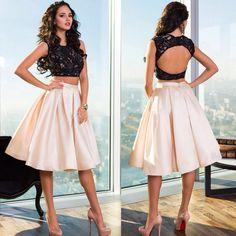 Zwart kant satijn rok een line open back homecoming graduation geïmporteerde party Gown vestidos de baile 2 Stuk Korte Prom jurken