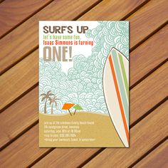 PRINTABLE Vintage Beach Surf themed birthday by chachkedesigns