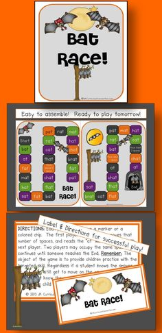 """Bat Race Game FREEBIE! This file folder path game targets """"AT"""" word family words. It will fit right in with any of your Bats and Halloween-themed Centers. Words used are: at, bat, brat, cat, chat, fat, flat, hat, mat, pat, rat, sat, & that. http://www.teacherspayteachers.com/Product/Bat-Race-Game-FREEBIE-909853"""
