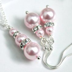 Swarovski Rosaline Light Pink Pearl Necklace by alexandreasjewels, $15.00