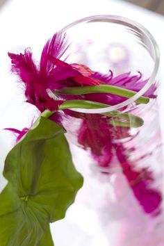 Side vase close-up with purple feathers and pink butterflies. Purple and Pink. Photo Credit : A. Mordant  Contact us at http://www.wedotahiti.com/en/tahiti-wedding-planner-contact-form/ #tahitiweddingplanner #tahitiweddingpackage