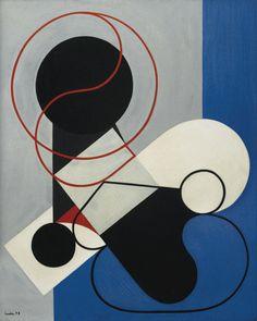 """blastedheath: """" Auguste Herbin (French, 1882-1960), Composition à la ligne noire, 1932. Oil on canvas, 73 x 60.1 cm. """""""