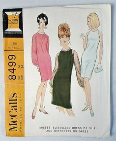 Vtg McCall's 8499 Chic Cocktail Dress Slip Overdress