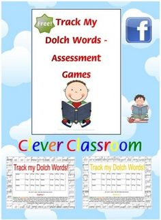 FREE Dolch Track my Reading Games - PDF file7 page, free resource.Clever Classroom's most downloaded freebie on TpT.