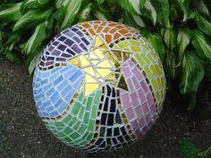 bowling ball mosaic art, diy home crafts, gardening, repurposing upcycling