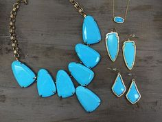 Latest obsession: turquoise  | Harlow necklace $195 | Elisa necklace $50 | Skylar earring $65 | Alex earring $55 | #Kendrascott #jewelry #fall #shoplocal #juneandbeyond