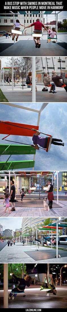 A Bus Stop With Swings In Montreal That Make Music#funny #lol #lolzonline