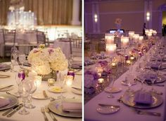 white hydrangea and purple rose wedding centerpiece