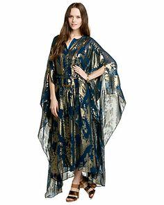 Swoon! … Marchesa Voyage Prussian Blue Print Silk Lurex Caftan