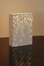 (JPEG Image, 1181 × 1772 pixels) - Scaled Maybe something for Printer Chat? YYZ Needs translating. lamp version of the canvas light Lighted box painted with void spots to glow canvas cut out art No instructions - sculpted steel, inspiration for those who Bedside Lamps Shades, Small Lamp Shades, Table Lamp Shades, Side Table Lamps, Side Tables, Art Diy, Lighted Canvas, Bedroom Lamps, Cool Ideas