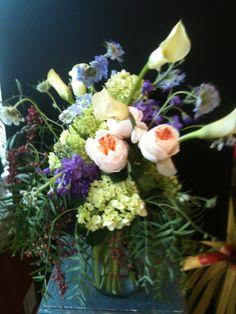 Garden pastels, #peach garden roses, scabiosa, cala lilies, green hydrangea and pepper berry