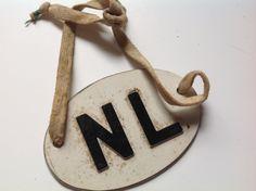 Vintage metal Netherlands tag label NL by Hannahandhersisters on Etsy