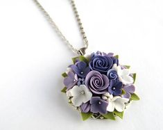 Purple rose flower necklace Cameo floral pendant Light Lilac White Lavender Plant jewelry Bridal accessorie Polymer clay Wedding Bridesmaid