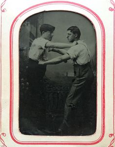 """1/6 PLATE TINTYPE - """"LET'S SETTLE THIS ONCE & FOR ALL!"""" - TWO WRESTLING BUDDIES 