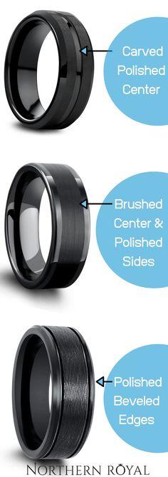 Mens Modern Wedding Ring's - All Mens Black Wedding Rings Modern Wedding Rings, Black Wedding Rings, Black Rings, Wedding Band, Wedding Stuff, Wedding Ideas, Black Tungsten Rings, Tungsten Wedding Rings, Pagan Wedding