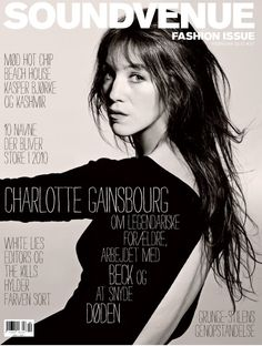 Charlotte Gainsbourg on the cover of Soundvenue's February 2010 issue. Love the tall Strangelove-ish (I think?) type along her body. It's a very sensitive use of type interacting with the photograph…