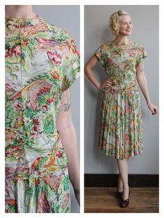 1940s Dress // Silk Waterlily Dress // vintage by dethrosevintage