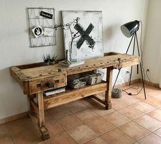 Aus einer alten Tischlerwerkbank wurde ein neues Dekoobjekt