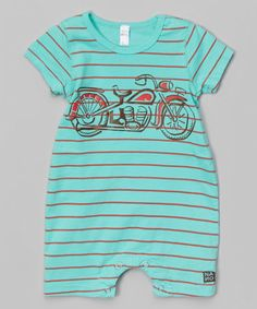 Look at this Honeydew & Red Stripe Motorcycle Romper - Infant by NANO Honeydew, Infant, That Look, Dressing, Rompers, Motorcycle, Boys, Cotton, Red