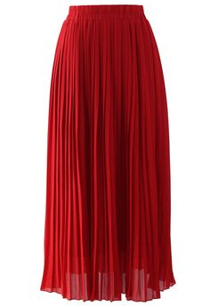 Chiffon Pleated Maxi Skirt in Red. $42.42