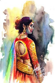 Oviyar Maruthi Indian Women Painting, Indian Art Paintings, Indian Artist, Cool Paintings, Beautiful Paintings, Sexy Painting, Woman Painting, Watercolor Fashion, Watercolour