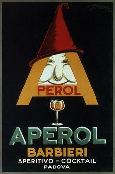 Aperol - barbieri, aperitivo - cocktail. Vintage Italian Posters of wine