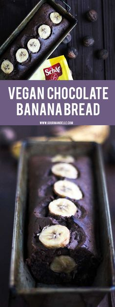 This vegan chocolate banana bread is extremely easy to make and has a rich, decadent chocolate taste you'll love!  http://gourmandelle.com/vegan-chocolate-banana-bread/