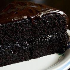 Dark Chocolate Fudge Cake Recipe from Grandmothers Kitchen.