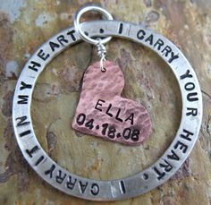 """Poem Quote Pendant - I Carry Your Heart - Sterling Silver. $35.00, via Etsy. With """"Gabe 4.22.08"""""""