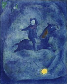 Born in present-day Belarus in 1887, Jewish artist Marc Chagall became known for his dream-like imagery and his vivid use of color. Four Tales from the Arabian Nights, currently being offered by Galerie Lareuse, pulls the viewer into a timeless realm inhabited by two lovers locked in an amorous embrace. The rich hues of blue evoke a heavenly space through which a horse, one of Chagall's most prevalent subjects, carries the lovers away.  Located in Washington DC, Galerie Lareuse.
