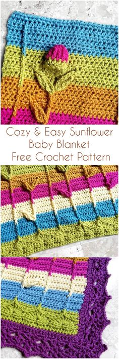 Cozy & Easy Sunflower Baby Blanket Free Crochet Pattern