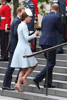Prince William, Duke of Cambridge, Catherine, Duchess of Cambridge and Prince Harry arrive for a service of thanksgiving at St. Paul's Cathedral for Queen Elizabeth II's 90th birthday on June 10, 2016.
