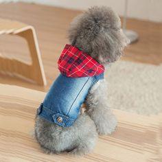 cf2e7d03c8 Hipidog Retro Pet Dog Clothes Blue Denim Hoodie Jacket Classic Jean Vest Coats  Costume for Small Medium Doggie Puppy Kitty Cat