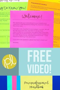 Grab this free paraprofessional training handout and watch the video to prepare for support staff in the special education classroom!