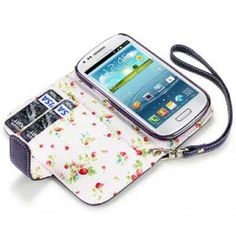 Samsung Galaxy S3 Mini i8190 Purple PU Leather Wallet Case With  Floral Interior - Free Shipping