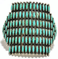 Old Pawn Turquoise Needlepoint Cluster Sterling Silver Wide Cuff Bracelet