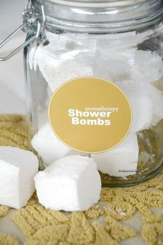 Aromatherapy Shower Bombs using Eucalyptus, Peppermint and Lavender doTERRA oils.  Free Printable Labels | theidearoom.net
