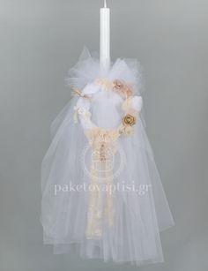 e4acd9baf96 Λαμπάδα Βάπτισης για Κορίτσι Λευκό Μπαμπού Στεφανάκι με Χειροποίητα  Λουλούδια. Christening, Girls Dresses. Paketovaptisi · Λαμπάδες Βάπτισης