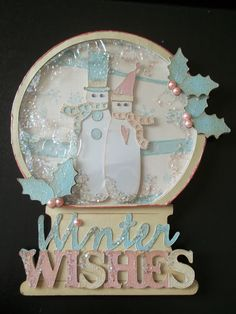 Cricut Snow Globe Card. Winter Woodlands, Joys of the Seasons  and Jolly Holidays Cartridges.  *