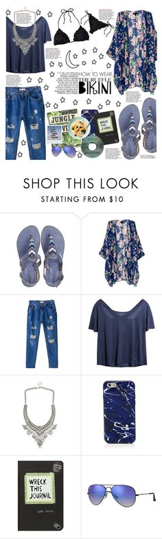 """""""Ruffled Up Swimwear"""" by hafsahshead ❤ liked on Polyvore featuring Laidback London, Marc Jacobs, Ray-Ban and Barneys New York"""