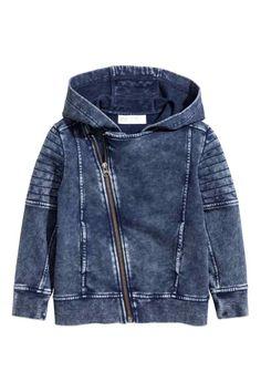 Hooded Sweatshirt Cardigan - Dark blue washed out - Kids | H&M CA