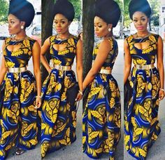 african print long dress with cutout